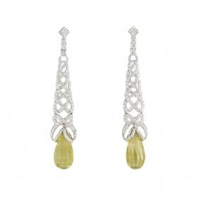 White Gold Diamond and Lemon Quartz Earrings